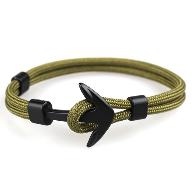 Black Anchor Shaped Bracelet for Men
